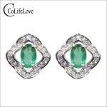 Vintage <b>silver</b> emerald stud <b>earrings</b> 4 mm * 6 mm natural emerald <b>earrings</b> solid 925 <b>silver</b> emerald stud <b>earrings</b> for weddings