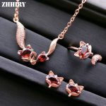 ZHHIRY Women Natural Garnet Gemstone Jewelry Sets Genuine 925 Sterling <b>Silver</b> Set Fox Ring <b>Earring</b> Pendant Necklace Fine Jewelry