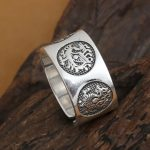<b>Handmade</b> 999 Silver Dragon Tiger Ring The Chinese Four Mythic Beasts Ring Pure Silver Adjustable Ring Fengshui Lucky <b>Jewelry</b>