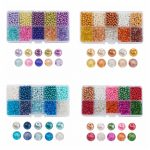 4/6/8mm Mixed Baking Painted Crackle Glass & Glass Pearl Bead Sets <b>Jewelry</b> <b>Making</b> DIY Loose Beads Accessories, Round Mixed Color