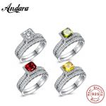 4 color Solid 925 Sterling Silver 2-Pcs <b>Wedding</b> Engagement Ring Set 1 Ct Princess Cut <b>Jewelry</b>