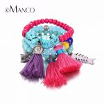 eManco Bohemia Tassel Bracelets for women's Charms Bracelet Red Create Crystal Beads <b>Making</b> Bracelet Wristband <b>Jewelry</b> 3 Pieces