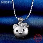 925 <b>Silver</b> Animal Cat Pendant <b>Necklace</b> Women's Fashion Creative Chainbone Chain Charm <b>Silver</b> Women's <b>Necklace</b>