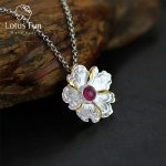 Lotus Fun Real 925 Sterling <b>Silver</b> Natural Tourmaline Handmade Fine Jewelry Peony Flower Pendant without <b>Necklace</b> for Women