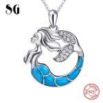 100% 925 sterling silver beautiful Mermaid glowing chain necklace&pendant European diy fashion <b>jewelry</b> <b>making</b> for women gifts