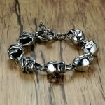 Men Skull Bracelets Stainless Steel Skulls Head Chain Bangle Bracelet Gothic Punk Biker <b>Jewelry</b> Silver Color pulseira calavera
