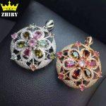 Women Natural Tourmaline And Pyrope Gems Pendant <b>Necklace</b> Genuine 925 Sterling <b>Silver</b> Precious Stone Fine Jewelry