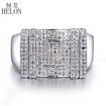 HELON Men's <b>Jewelry</b> Gift Real 925 Sterling <b>Silver</b> Pave Setting 0.5ct 100% Genuine Natural Diamond Wedding Ring Trendy Party Ring
