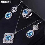 ZHHIRY Women Real Natural Blue Topaz Jewelry Sets 925 Sterling <b>Silver</b> Pendant <b>Earrings</b> Ring Gemstone Luxury Fine Jewelry