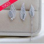 925 Silver Pearls Accessories Wings Pendant Zircon Earrings Set 2pc Woman Oyster Pearl <b>Jewelry</b> <b>Making</b>