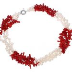 Red Coral and White Cultured Freshwater Pearl Necklace Choker Collar Statment <b>Handmade</b> Women <b>Jewelry</b>