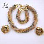 Rose Two tone color Dubai Ethiopian Nigerian <b>wedding</b> african beads <b>jewelry</b> set necklace ethiopian gold