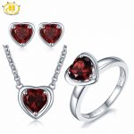 Hutang 3.88ct Natural Gemstone Garnet Solid 925 Sterling <b>Silver</b> Pendant & <b>Earrings</b> & Ring Fine Bridal Jewelry Sets For Gift New
