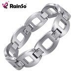 Rainso Titanium <b>Bracelets</b> & Bangles For Women Men 2018 Hot Selling Fashion <b>Silver</b> Punk Jewelry Charm <b>Bracelets</b> Friendship Gift