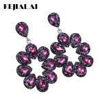 KEJIALAI Luxury <b>Handmade</b> <b>Jewelry</b> Rose Red Water Drop Crystal Pave Rhinestone Big Hyperbole Long Drop Dangle Earrings For Women