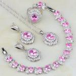 Egg Shaped Pink Cubic Zirconia White Zircon 925 <b>Silver</b> Jewelry Sets For Women Wedding Earring/Pendant/Necklace/<b>Bracelet</b>/Ring