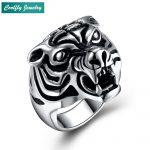 Rebel Animal Tiger Rings For Men Retro 316L Stainless Steel Ring Viking Punk <b>Antique</b> Men's Biker Finger <b>Jewelry</b> Gift Bague