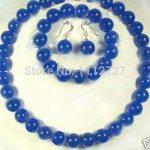 New <b>Jewelry</b> Sets 10MM Blue Chalcedony Necklace +Bracelet +Earrngs Natural Beads Stone DIY Fashion <b>Jewelry</b> <b>Making</b> Wholesale Price