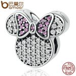BAMOER Real 100% 925 Sterling Silver White & Pink Stones Child Bead Cartoon Charms Fit Bracelets Beads & <b>Jewelry</b> <b>Making</b> PSC052