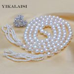 YIKALAISI 2017 New Fashion 100% Genuine Fashion Pearl <b>jewelry</b> Necklace Natural Pearl Long Necklace 100cm For Women Best Gift