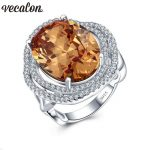 Vecalon <b>Handmade</b> Flower Anniversary Band ring for women Big 10ct AAAAA Zircon Cz 925 silver Female Party wedding rings <b>Jewelry</b>