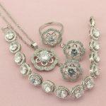 White Seven Colors Semi-precious Stone <b>Silver</b> Color Jewelry Sets For Women Drop Earrings <b>Bracelet</b> Pendant Ring Free Gift Box