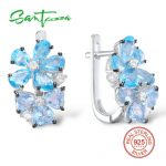 SANTUZZA <b>Silver</b> Earrings For Women 925 <b>Sterling</b> <b>Silver</b> Stud Earrings <b>Silver</b> 925 with Stones Cubic Zirconia brincos <b>Jewelry</b>