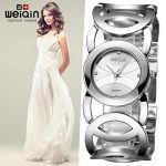 WEIQIN <b>Silver</b> Women Watches Luxury High Quality Water Resistant Montre Femme Stainless Steel 2017 Dress Woman Wrist Watches saat