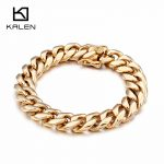 KALEN 22cm China Gold Link Chain Bracelets For Men 316 Stainless Steel Silver Shiny Link Chain Bracelet Male <b>Jewelry</b> <b>Accessories</b>