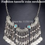 New Fashion Boho Chic Vintage <b>Antique</b> <b>Jewelry</b> Silver Plated Turkish Coin Fringe Alloy Choker Statement Necklaces Women YJ110#
