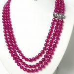gem 3row 8mm 100% nature round red gem necklace <b>handmade</b> women's <b>jewelry</b> silver
