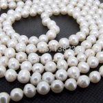 7-8mm White freshwater pearl long necklace 45inch DIY handmade women fashion <b>jewelry</b> <b>making</b> design