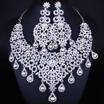 Silver Plated Luxury Moroccan Style Clear Crystal Rhinestones <b>Necklace</b> Earrings Set Women's Wedding <b>Jewelry</b> Set