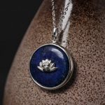 <b>Handmade</b> Real Pure 925 Sterling Silver Lotus Flower Lapis Lazuli Stone Pendant Necklace For Women Elegant Beauty <b>Jewelry</b>