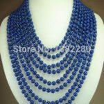 8 rows 6mm blue lapis lazuli beads chalcedony necklace 17-24inch DIY ! women <b>jewelry</b> <b>making</b> design