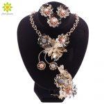 Nigerian Bead <b>Jewelry</b> Sets For Women Wedding Flower African Beads <b>Jewelry</b> Set <b>Necklace</b> Earrings Bracelet Ring Jewellery
