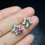 Natural red tourmaline Elegant earrings star stud earrings 925 <b>silver</b> natural green tourmaline earrings women party gift <b>jewelry</b>