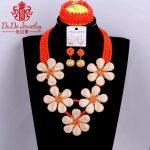 100% <b>Handmade</b> African Women <b>Jewelry</b> Sets Brand New Bridal Nigerian Wedding Beads Necklace Set 2018 Dubai Orange Gold Necklace