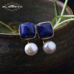GLSEEVO Natural Square Lapis Lazuli Fresh Water Pearl Drop Earrings For Women 925 <b>Silver</b> Ear Pin Handmade Fine <b>Jewelry</b> GE0327