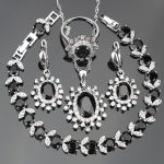 Black Zircon <b>Silver</b> 925 Costume Bridal Jewelry Sets Women Earrings/Necklace/Rings Set With White Stones Jewelery Christmas Box