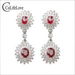 Elegant 925 ruby drop earrings for party 4 pcs natural ruby wedding earrings solid <b>sterling</b> <b>silver</b> ruby <b>jewelry</b> gift for woman