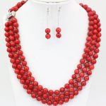 New 7mm natural red coral round beads 3 rows <b>necklace</b> dangle earrings <b>jewelry</b> set for women weddings party gifts 17-19″ B3455