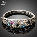 AZORA Vintage Pattern Bracelets for Women Ancient Silver Color <b>Fashion</b> <b>Jewelry</b> Christmas Gifts Multicolor Crystal Bangles TB0090