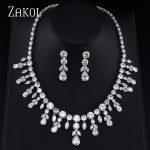 ZAKOL Sparkling Clear Water Drop Cubic Zirconia Earrings <b>Necklace</b> <b>Jewelry</b> Sets For Elegant Bridal Wedding Dinner Dress FSSP013