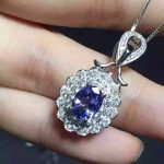 natural blue tanzanite pendant S925 <b>silver</b> Natural yellow crystal Pendant <b>Necklace</b> trendy Luxury round women party jewelry