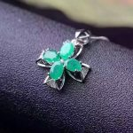 natural green emerald pendant S925 <b>Sterling</b> <b>silver</b> Natural gemstone Pendant Necklace trendy love Clover women girl party <b>jewelry</b>