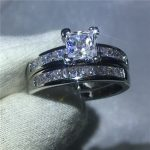 Handmade Luxury Female <b>Jewelry</b> Princess cut 5A Zircon stone White Gold Filled Engagement <b>Wedding</b> band Ring Set for women