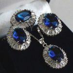 Women's Wedding Inlay Blue Crystal Pendant Necklace Ring Earring set real silver-<b>jewelry</b>