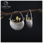 Lotus Fun Real 925 <b>Sterling</b> <b>Silver</b> Natural Creative Handmade Fine <b>Jewelry</b> My Little Garden Drop Earrings for Women Brincos