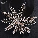 Miallo <b>Fashion</b> Gold Color Hair Clips Handmade Crystal Hair <b>Jewelry</b> Accessories Barrettes Wedding Headdress Women Hairpieces